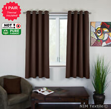 Blockout Blackout 3 Layers Pure Fabric Thermal Insulated Eyelet Curtains Pair Chocolate 2 Panels 180cm X 244cm Each