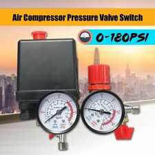 180PSI Air Compressor Pressure Valve Switch Manifold Relief Regulator Gauges