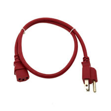 Red 3FT COMPUTER POWER SUPPLY AC CORD CABLE WIRE FOR HP DELL ACER DESKTOP PC SYS