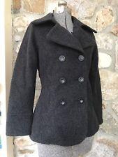 Woolrich ONYX BLACK warm Wool Peacoat Double Breasted Jacket Coat size XS 15414