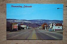 Kremmling Colorado Postcard Service Station Signs Conoco Texaco Skelly Standard