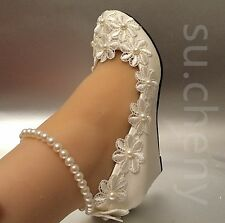 White light ivory wedges pearls anklet lace Wedding shoes Bride size 5-11