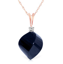 14k Solid Gold Necklace Diamond & Twisted Briolette Sapphire