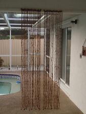 "VINTAGE ALANCO JAPAN BOHO DARK WOOD BEAD BEADED CURTAIN ROOM DIVIDER HIPPIE 78"""