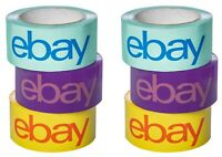 """6 Roll Pack of Official eBay Branded BOPP Shipping Tape - 2"""" x 75 yards"""