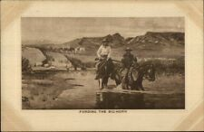 Cowboys Fording the Big Horn c1910 Postcard