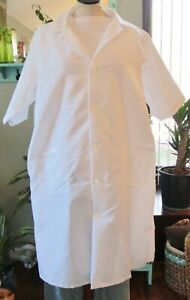 """Best Medical Woman S/S Lab Coat Buttons 3 Pocket 42"""" Length White Sz M to 7X"""