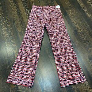 NOS Vtg 60s 70s Plaid CORDUROY Bell Bottom Pants cotton Disco Mod NEW Mens 32 29