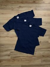 Lot Of 3 Vintage Oneita Blank T Shirts Adult Size SMALL S Navy Blue