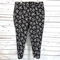 Talbots Women's Hampshire Ankle Pants Black/Brown Floral Plus Size 20W NWT