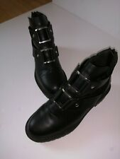 Primark Black Boots With Silver Buckles Uk 4