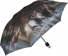 """Heavy Duty Windproof Folding Horse Umbrella with Push Button Opening - Brown 42"""""""