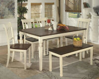 Ashley D583 Table, 4 Chairs and Bench