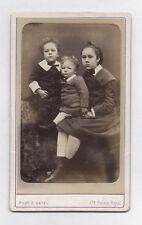 PHOTO ANCIENNE CDV Trois Enfants Bébé Trio E. Gatel Paris Vers 1880 Costume Mode