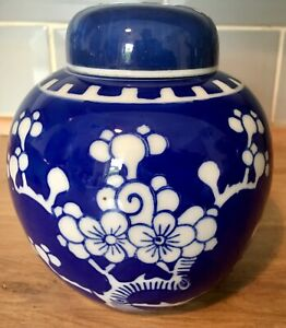 Prunus Ginger Jar With Lid  Blue & White