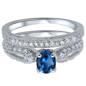 Oval Blue Sapphire CZ Engagement Wedding Silver Ring Set