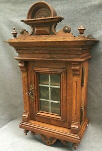 Heavy antique french cabinet furniture early 1900's woodwork glass with key 15lb
