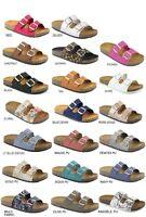New Womens Open Toe Buckle Slide Cork Footbed Slip On Flat Sandal Flip Flop Shoe