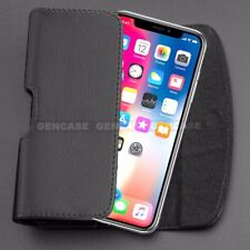 For iPhone X 10 Case Pouch | Heavy Duty Black Leather Cover with Holster Clip