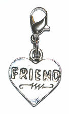 Tibetan Silver Love Heart Friend Clip On Charms Pendant Free Gift Bag New