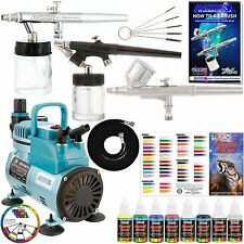 3 Airbrush System 6 Color Paint Kit & Cool Runner Air Compressor Dual-Action Set