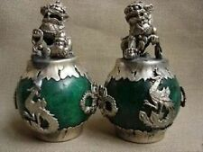 CHINESE PAIR OF Tibet SILVER DRAGON JADE Foo dog STATUE