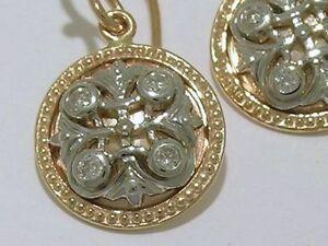 E077 Genuine 9ct Gold Natural Diamond Fleur-de-Lis Drop Earrings Two-Tone