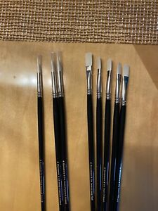 """Lot Of 8 Long Handled """"ivory"""" Oil paint brushes brand new by rosemary and co"""