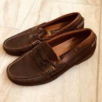 Johnston Murphy Mens 9 Penny Loafers Soft Brown Leather Slip On Moccasins Career