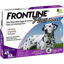 Frontline Plus For Large Dogs 45-88 lbs / 8 Doses / 8 Month Supply, New In Box!!