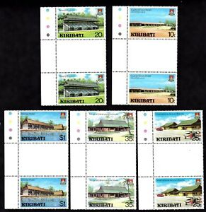 KIRIBATI #360-364 MNH GUTTER PAIRS (HOTELS, AIRPORT, LIBRARY & STADIUM)