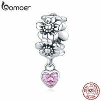 BAMOER Real 925 Sterling silver DIY Pavé CZ Charm Love flower Fit Women Bracelet
