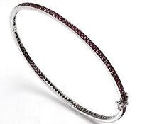 1.7 ctw Pink Sapphire Solid 14k White Gold Eternity Oval Bangle Bracelet 7''