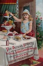 ANTIQUE TRADE CARD VAN DUZER & CO. DESSERTS - JELLIES -  FRUIT - EXTRACTS