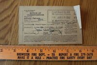 1942 Notice of Classification local Board 412 St Lawrence County NY WWII Era