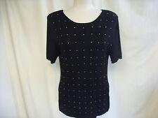 "Ladies Top Samra size XL stretch fine knit, black & diamante, bust 36"" 0727"
