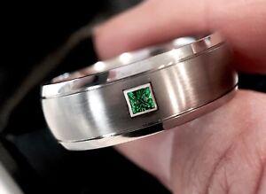 Titanium Ring, Square Emerald Stone Setting Wedding Ring, Mens Engagement Ring