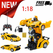 Kids Toys Transformer RC Robot Toy Model Car Remote Control Yellow Car Xmas Gift