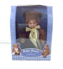 "Anne Geddes Baby Bears 8"" Doll Bean Filled Brown Blue Eyes Unisex Diaper Cake ^"