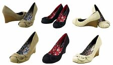 NEW Women Ladies Faux Leather D-Ring Pleat Round Toe Slip On Stack Heel Wedge Sz