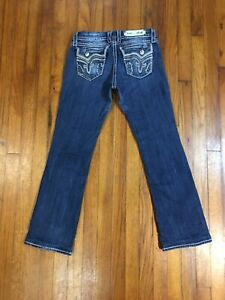 ROCK REVIVAL Kai Easy Boot Womens Distressed Blue Jeans TAG 28 Fits 31W x 29L
