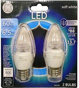 GE 7-Watt (60W eq.) Soft White Blunt Tip Clear Medium Base LED Bulbs (2 Bulbs)