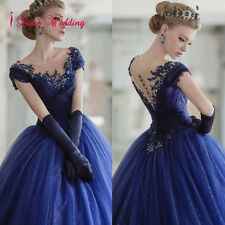 New Ball Gown Wedding Dress Formal Royal Blue Tulle Appliques Bridal Gown Custom