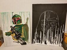 Star Wars Empire Strikes Back Art Print Darth Vader Boba Fett Painting
