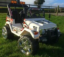 Childrens Fun - 12V Ride on BIG 4x4 Off-Road Jeep Battery Two Seater Car - White