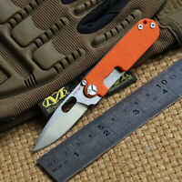 Hunting Knives Titanium D2 Steel G10 Drop Point Rescue EDC Folding Pocket Knife