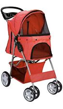 Pet Strollerfor  Cat Dog 4 Wheeler Walk Stroller Travel Folding Carrier Red
