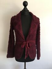 Monsoon Burgundy Bow Front Cardigan Designer Mohair Wool Size 10 8 Thick Chunky