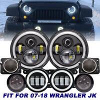 """7"""" LED Headlight +4"""" Fog Halo Light+Turn Signal+Fender Kit for Jeep Wrangler JK"""