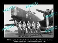 OLD POSTCARD SIZE PHOTO RAF LECONFIELD, RAAF SQUADRON VICKERS WELLINGTON 1943